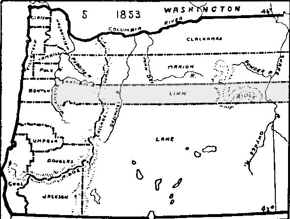 Oregon Counties Map 1853 Linn Genealogical Society